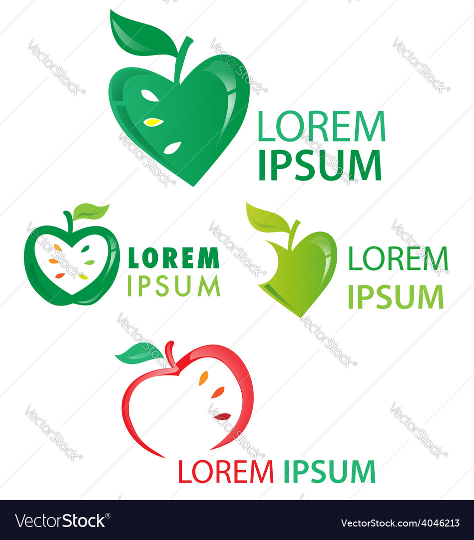 Apple fruit symbol set isolated on white vector | Price: 1 Credit (USD $1)