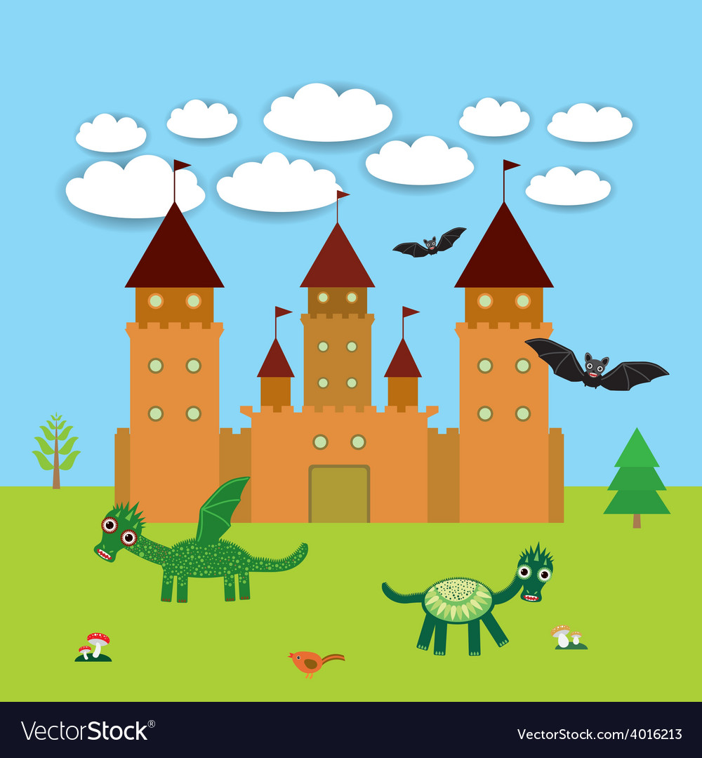 Card with castle fairytale landscape with dragons vector | Price: 1 Credit (USD $1)