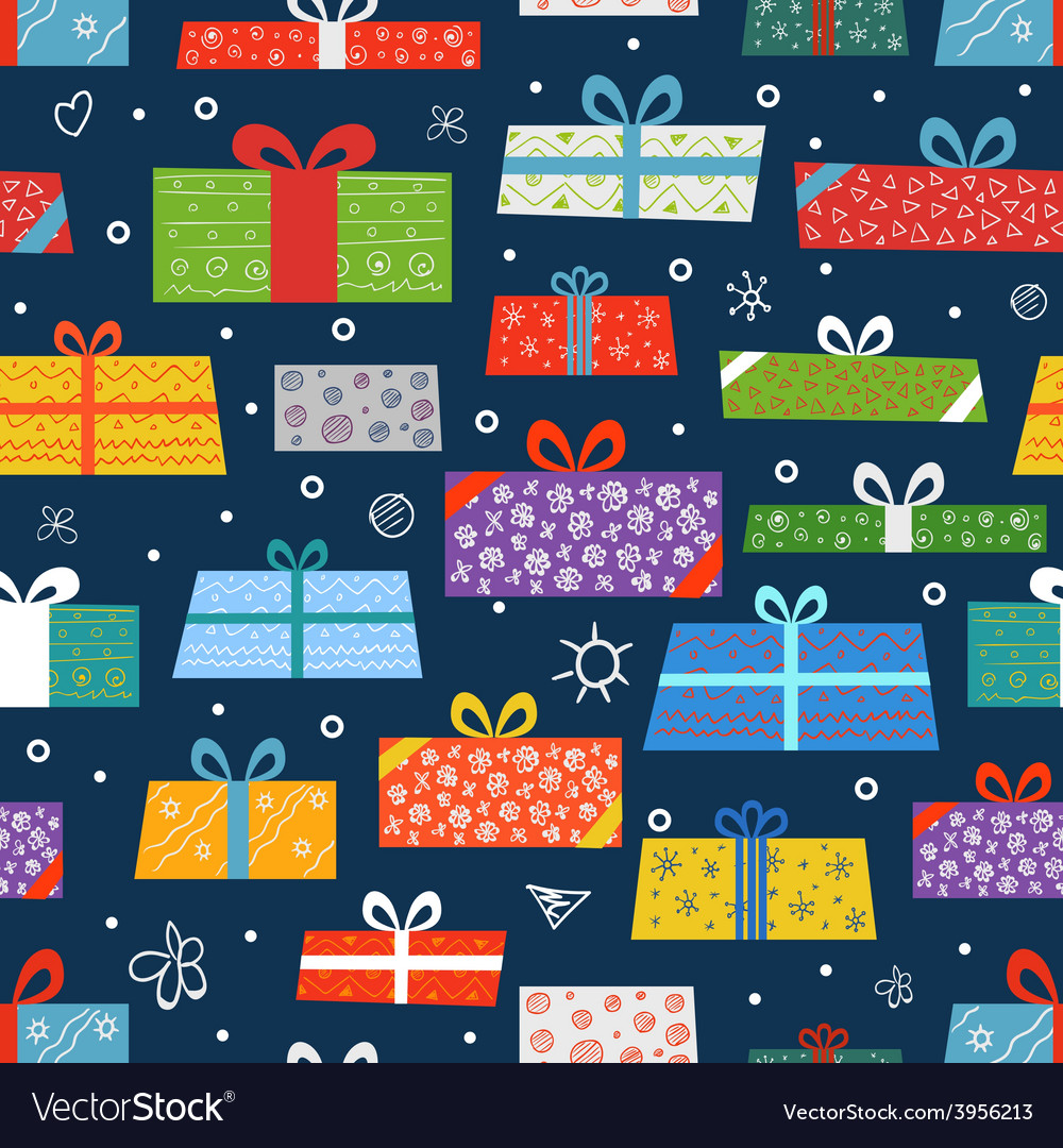 Different color gift boxes seamless background vector | Price: 1 Credit (USD $1)