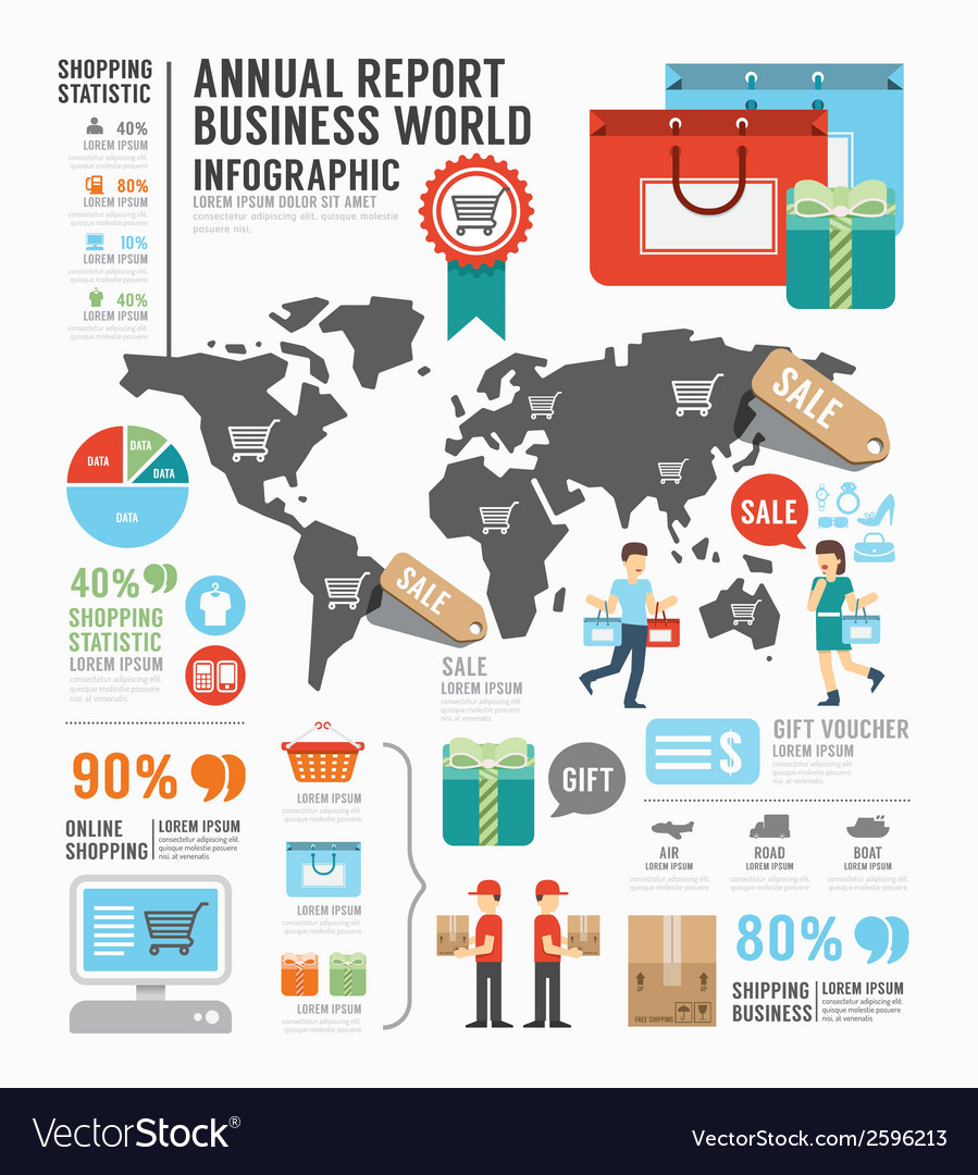 Infographic annual report business world industry vector | Price: 1 Credit (USD $1)