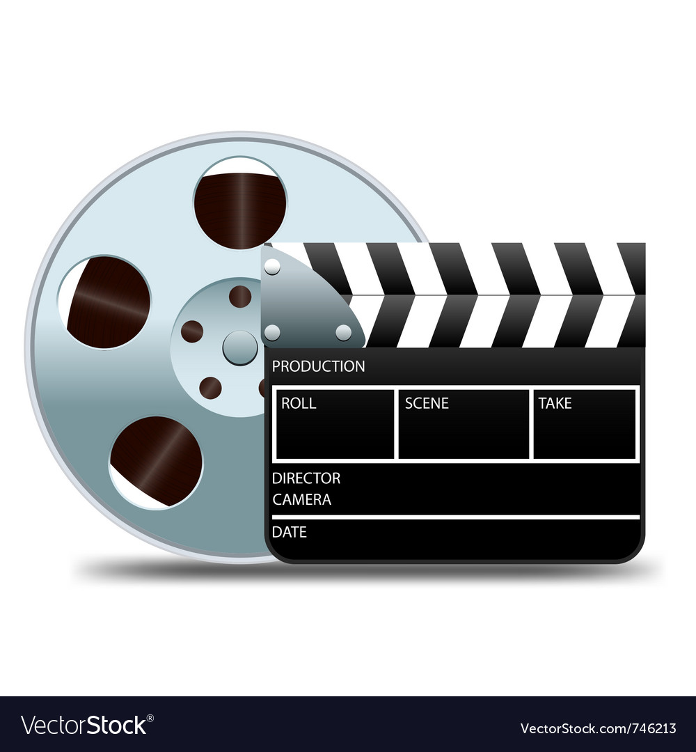 Movie clapper board and film reel vector | Price: 1 Credit (USD $1)