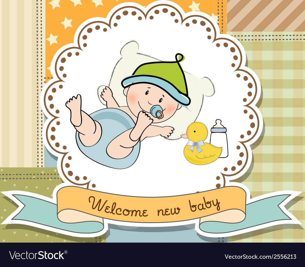 New baby announcement card with little baby vector | Price: 1 Credit (USD $1)