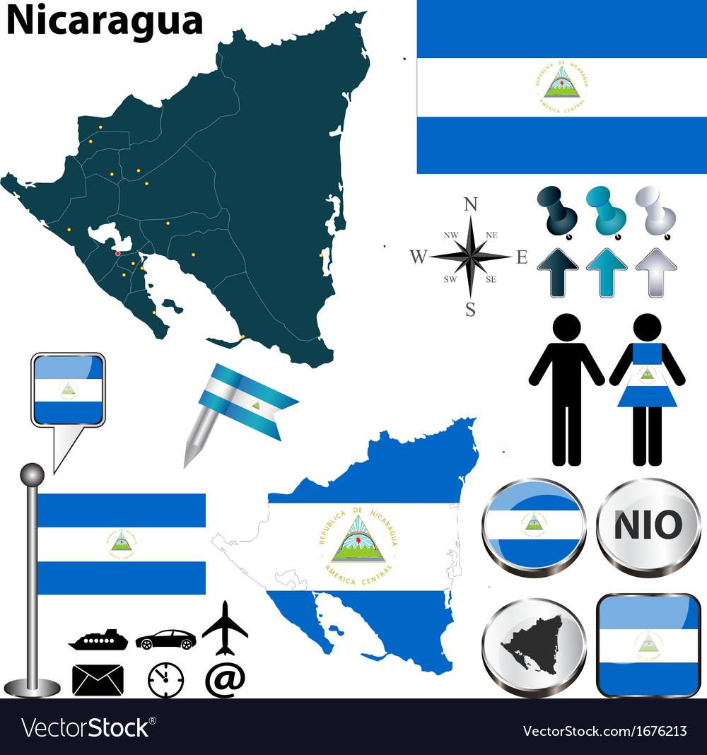 Nicaragua map vector   Price: 1 Credit (USD $1)