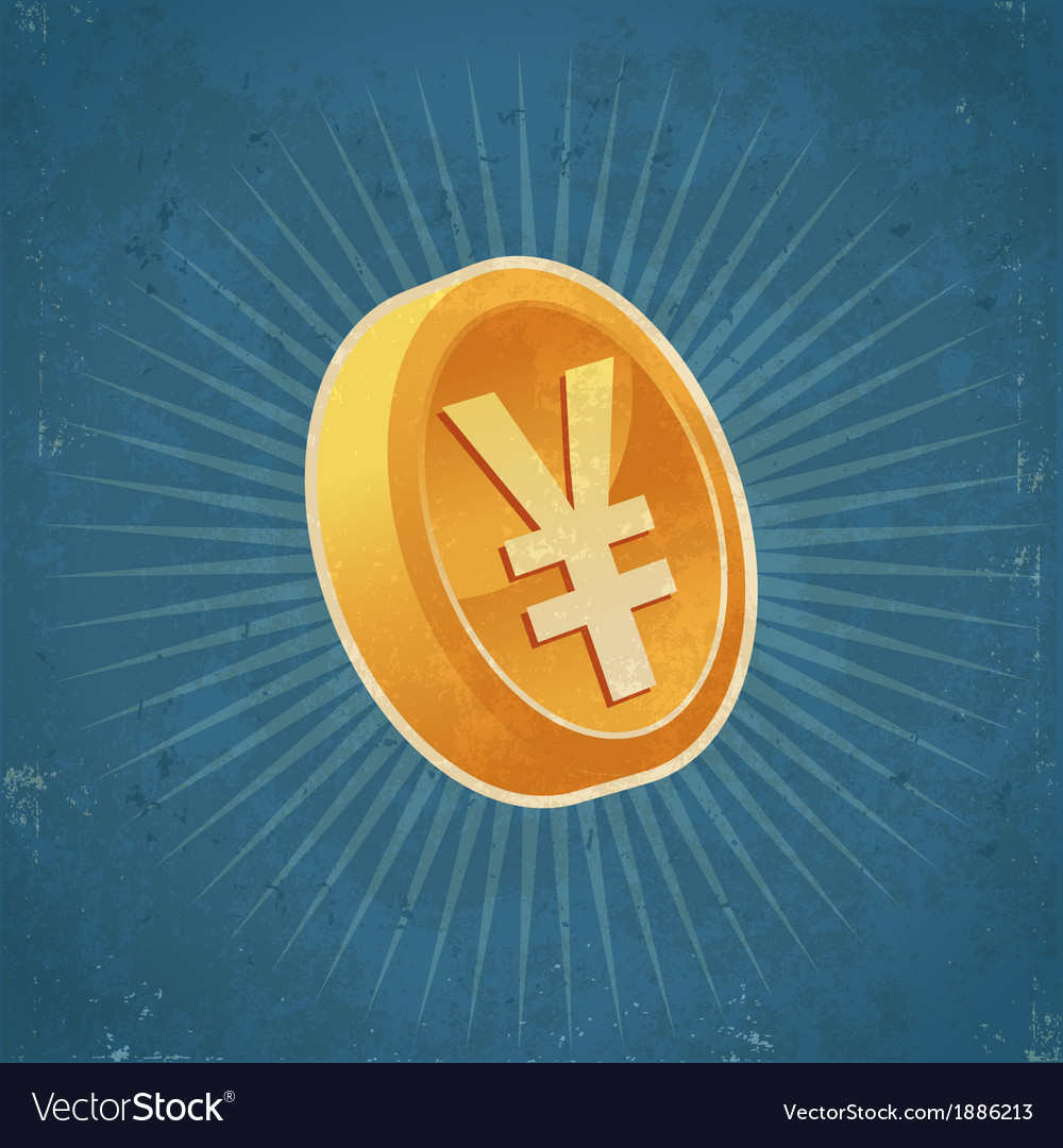 Retro gold yen coin vector | Price: 1 Credit (USD $1)