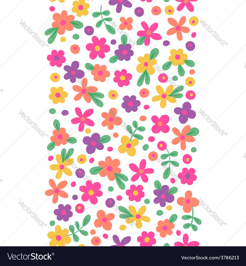 Seamless border with cute flowers vector | Price: 1 Credit (USD $1)