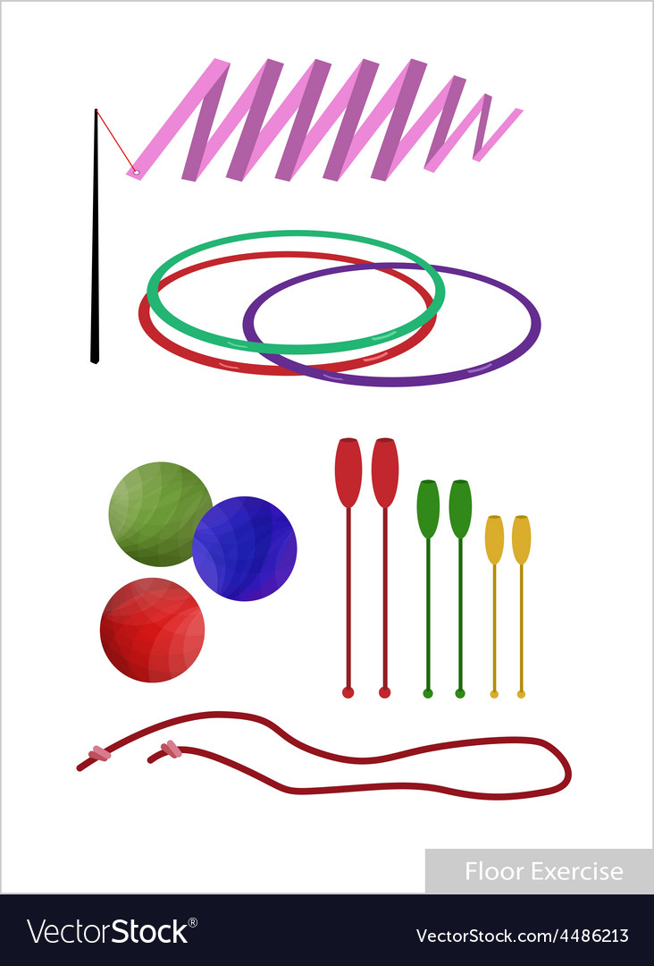 Set of rhythmic gymnastic equipments on white vector | Price: 1 Credit (USD $1)