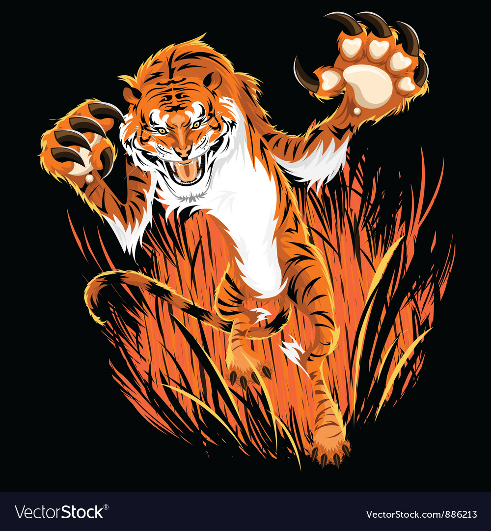 Tiger ambush vector | Price: 5 Credit (USD $5)