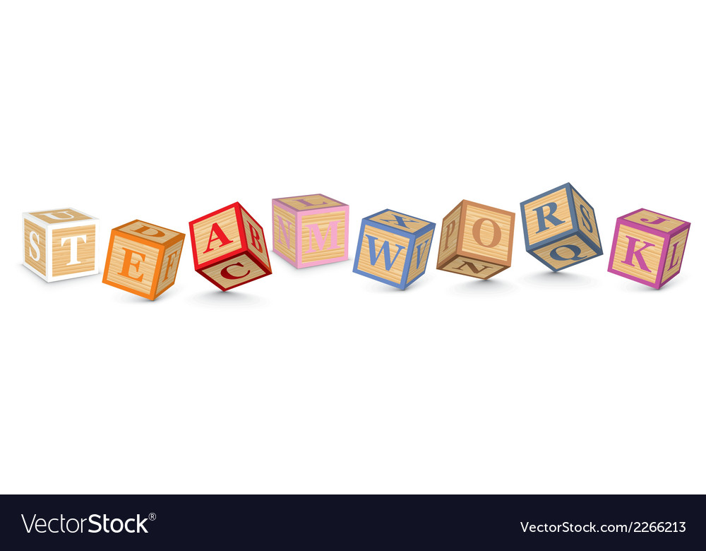 Word teamwork written with alphabet blocks vector | Price: 1 Credit (USD $1)