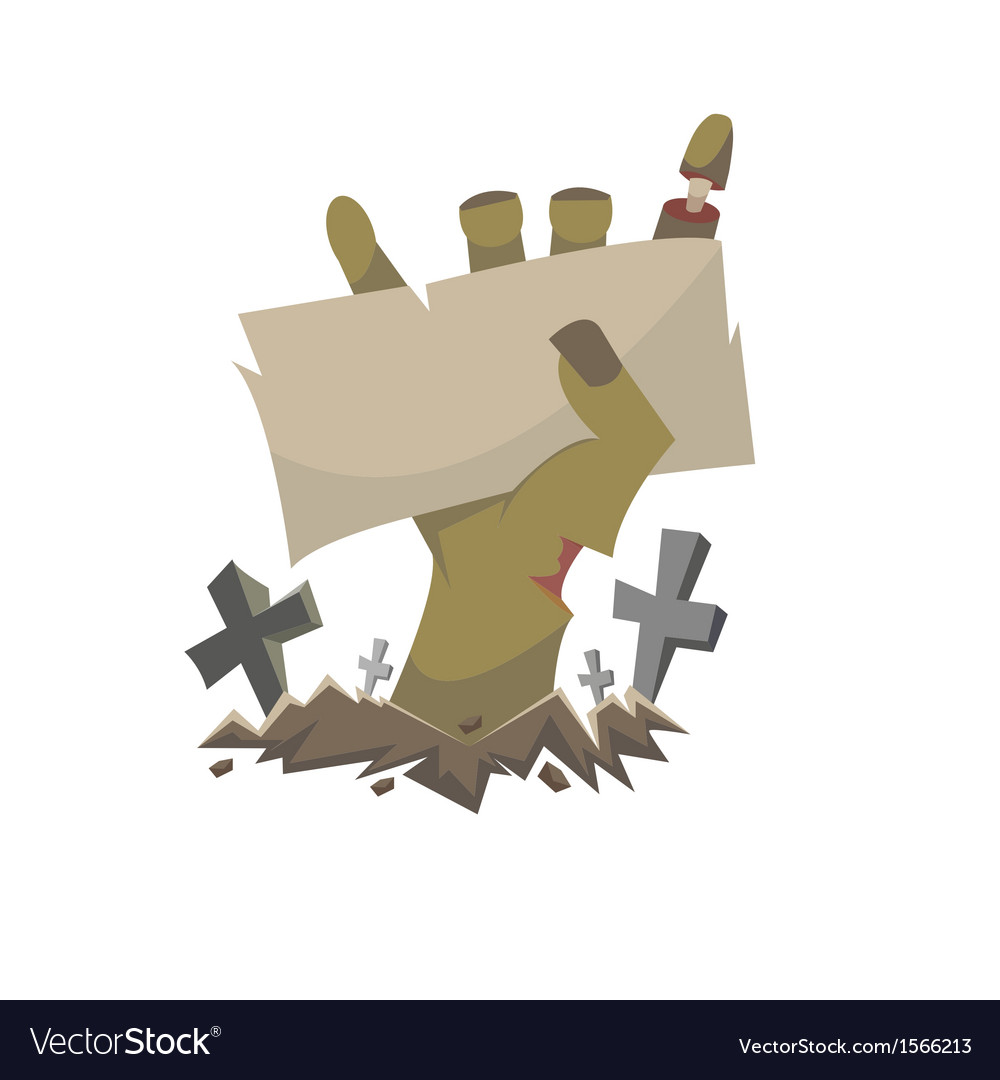 Zombie hand holding banner vector | Price: 1 Credit (USD $1)