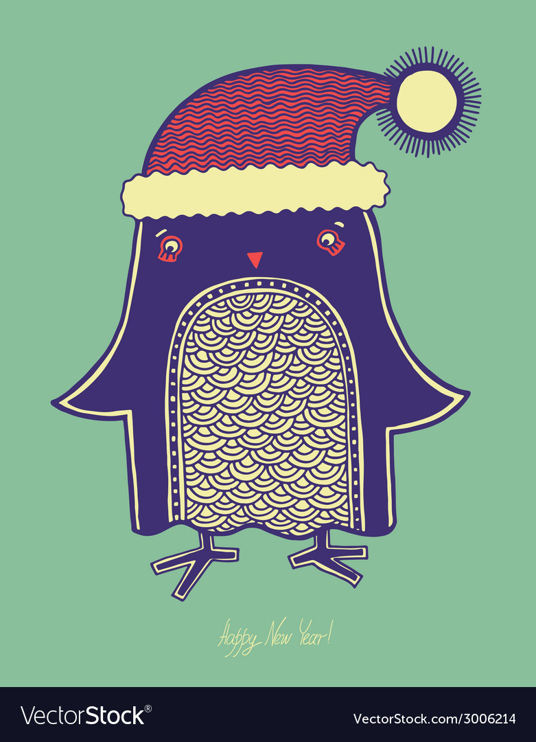 Christmas bird of doodle penguin in a hat merry c vector | Price: 1 Credit (USD $1)