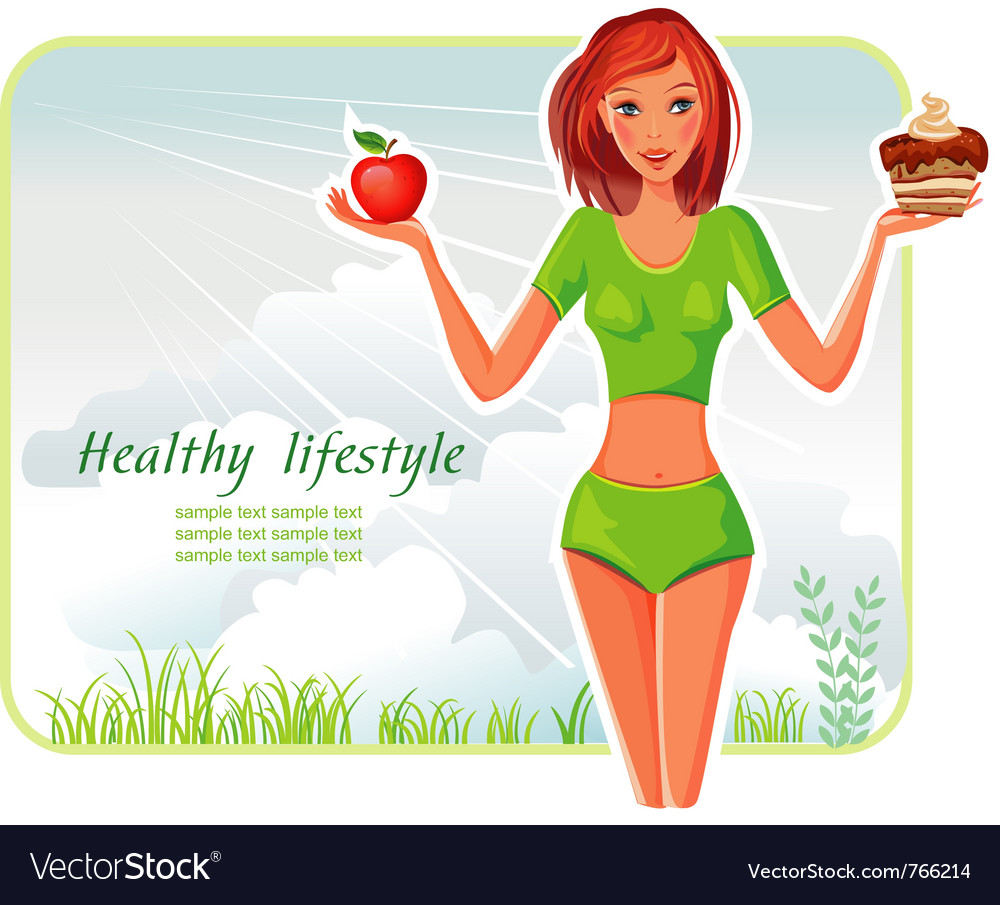 Girl chooses between apple or cake vector | Price: 3 Credit (USD $3)