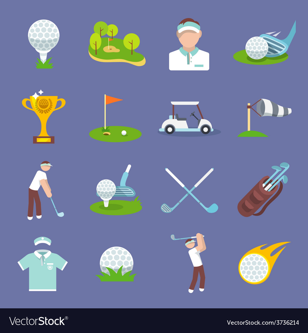 Golf icon flat vector | Price: 1 Credit (USD $1)