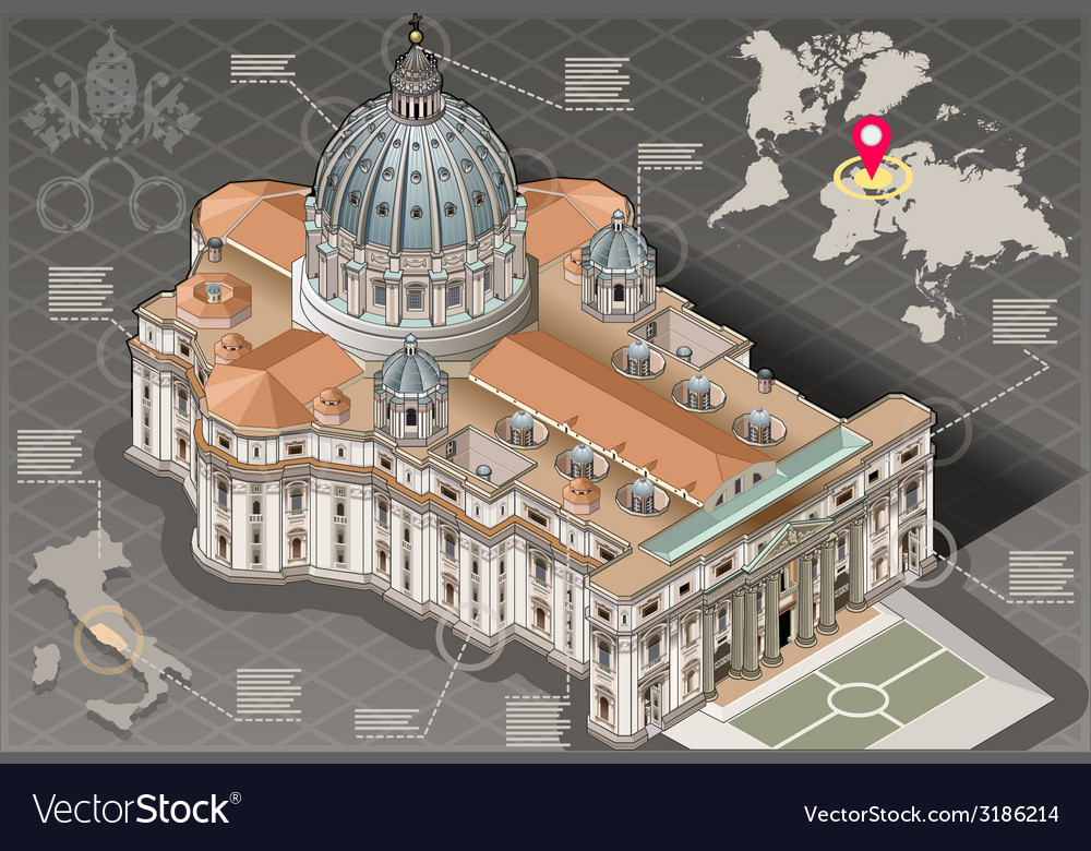 Isometric infographic of saint peter of vatican vector   Price: 3 Credit (USD $3)