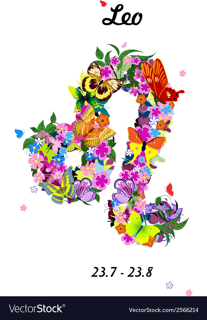 Pattern with butterflies cute zodiac sign - leo vector   Price: 1 Credit (USD $1)
