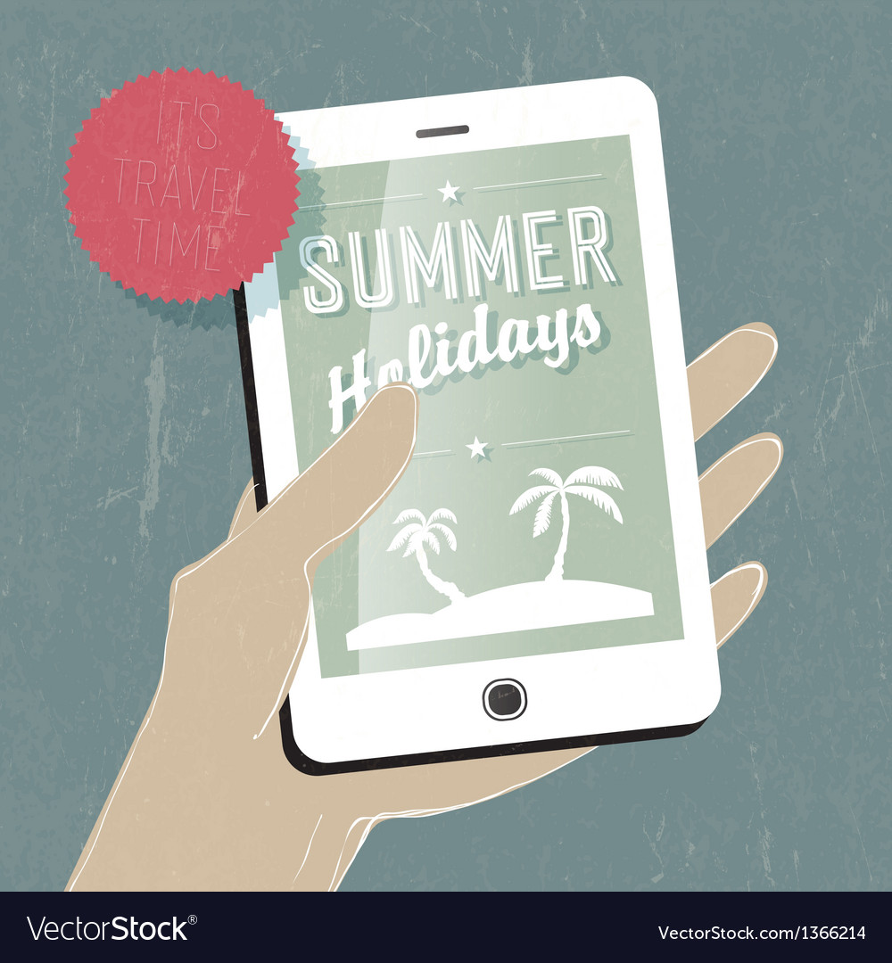 Summer travel concept with phone vector | Price: 1 Credit (USD $1)