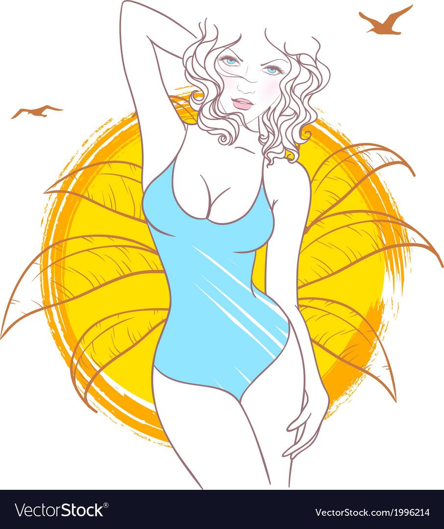 Summer woman vector   Price: 1 Credit (USD $1)
