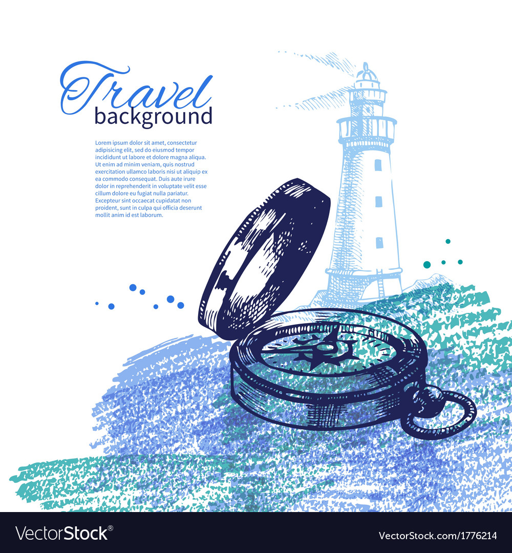 Travel vintage background sea nautical design vector | Price: 1 Credit (USD $1)