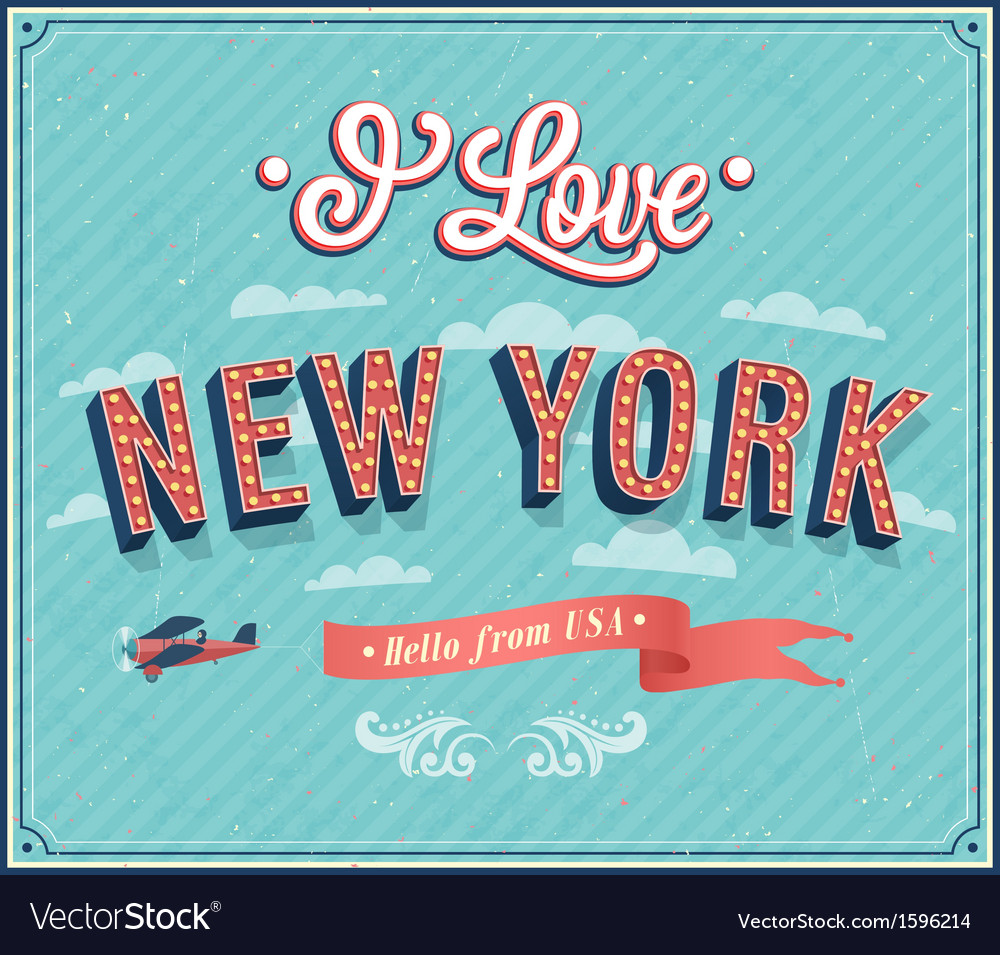 Vintage greeting card from new york vector | Price: 1 Credit (USD $1)