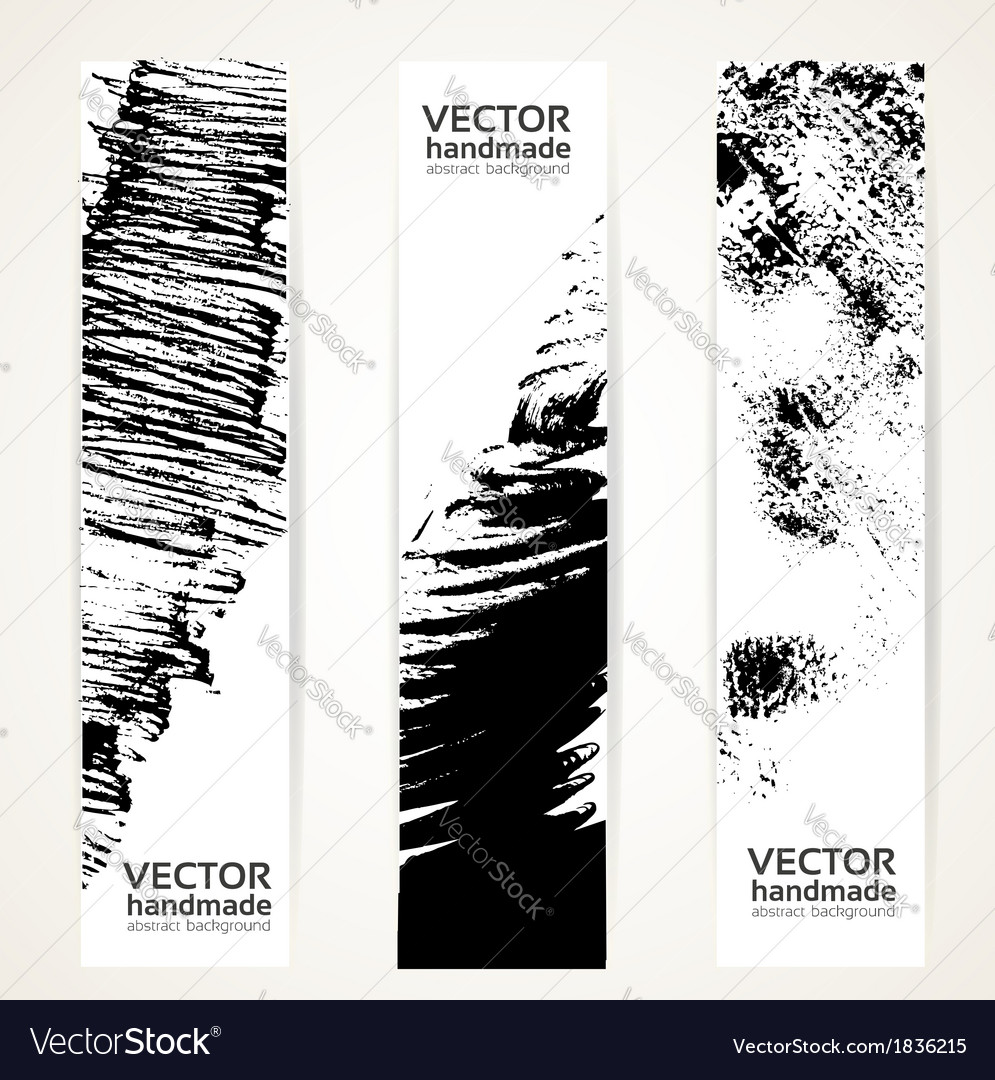 Abstrac black ink banner set vector | Price: 1 Credit (USD $1)