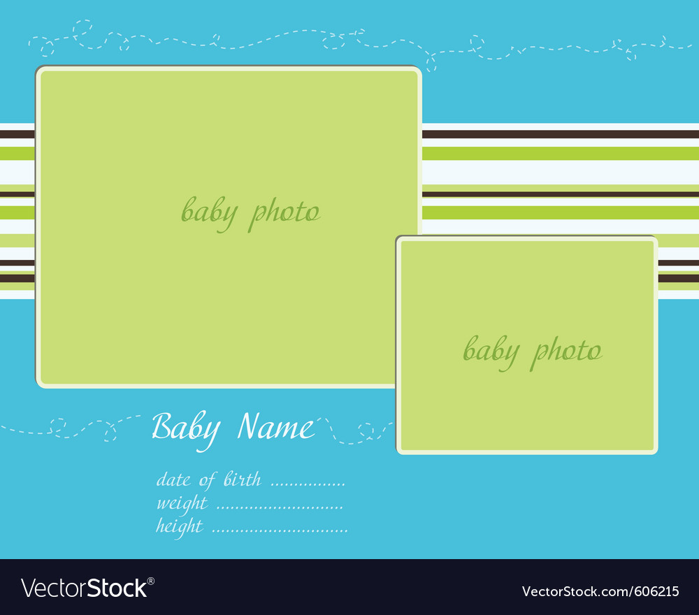 Baby arrival blue-green card with photo frames vector | Price: 1 Credit (USD $1)