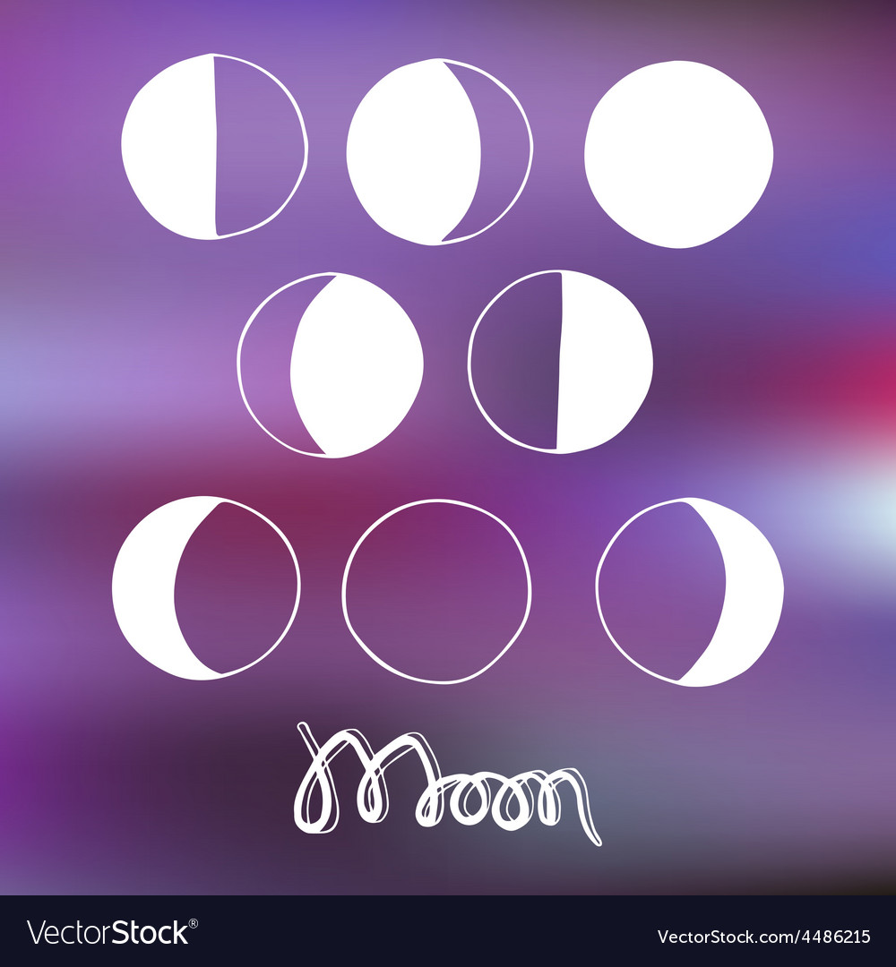 Cartoon moon and moon phases vector | Price: 1 Credit (USD $1)