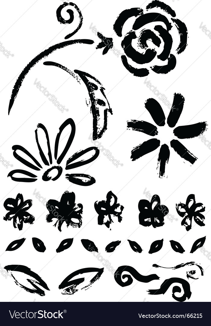 Collection of flower ink elements vector | Price: 1 Credit (USD $1)