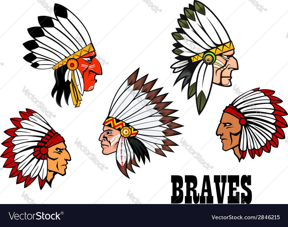 Indian brave chief portraits set vector | Price: 1 Credit (USD $1)