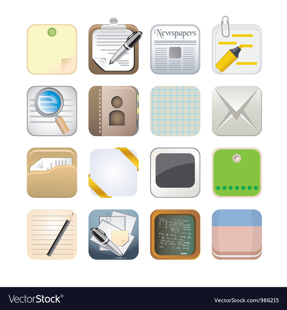 Paper app icon set vector | Price: 3 Credit (USD $3)