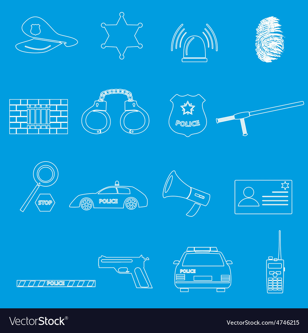 Police whihe outline simple icons set eps10 vector | Price: 1 Credit (USD $1)