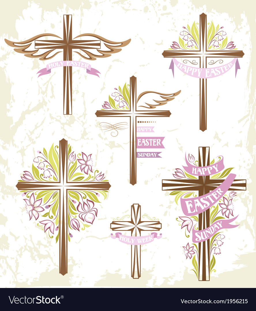 Set of easter crosses vector | Price: 1 Credit (USD $1)
