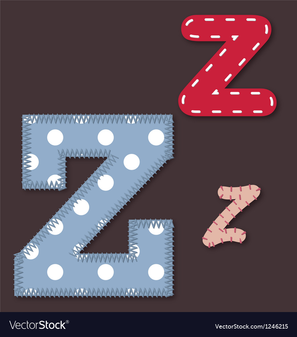 Set of stitched font - letter z vector | Price: 1 Credit (USD $1)