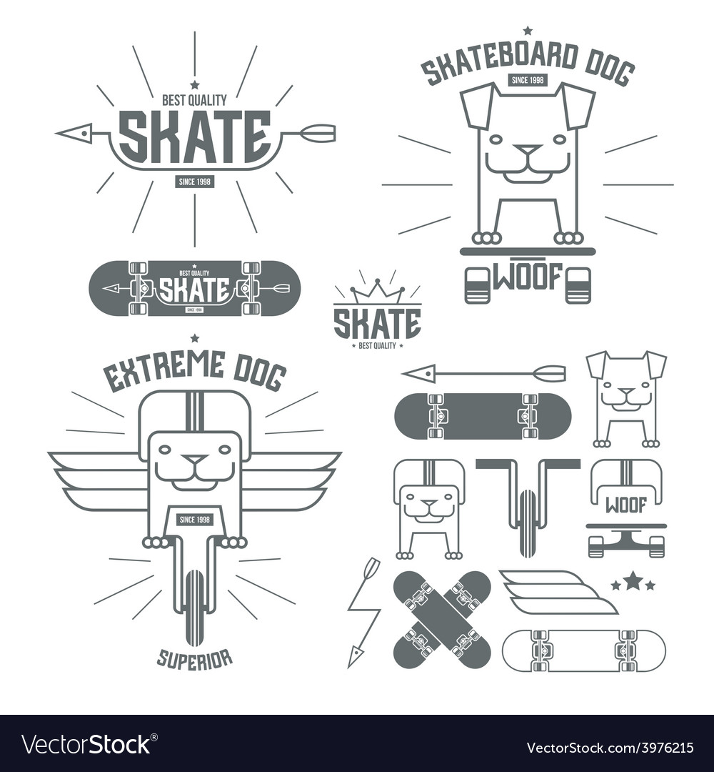 Skateboard dog emblems and icons vector | Price: 1 Credit (USD $1)