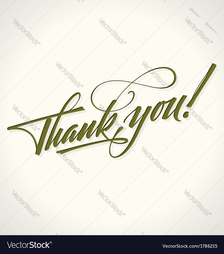 Thank you hand lettering vector | Price: 1 Credit (USD $1)