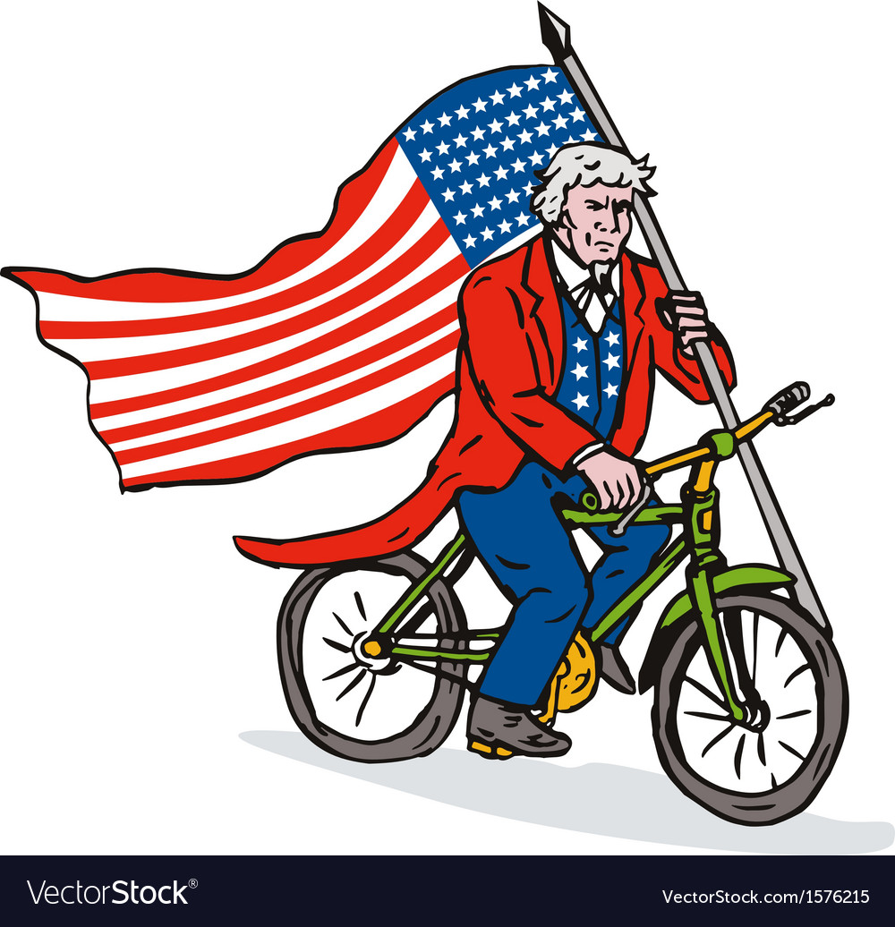 Uncle sam riding bike vector | Price: 1 Credit (USD $1)