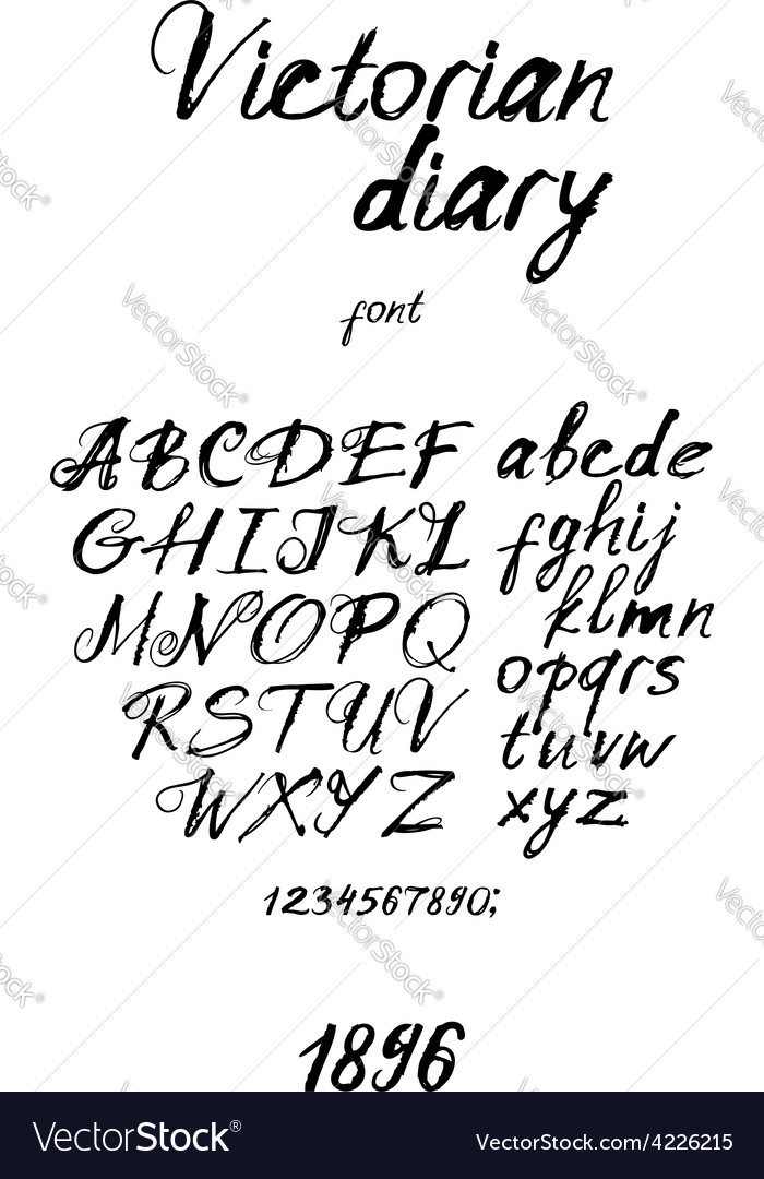 Victorian handwritten font vector | Price: 1 Credit (USD $1)