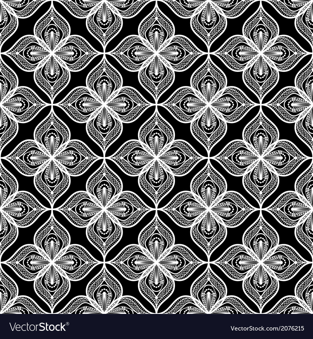 White openwork lace seamless pattern on black vector | Price: 1 Credit (USD $1)
