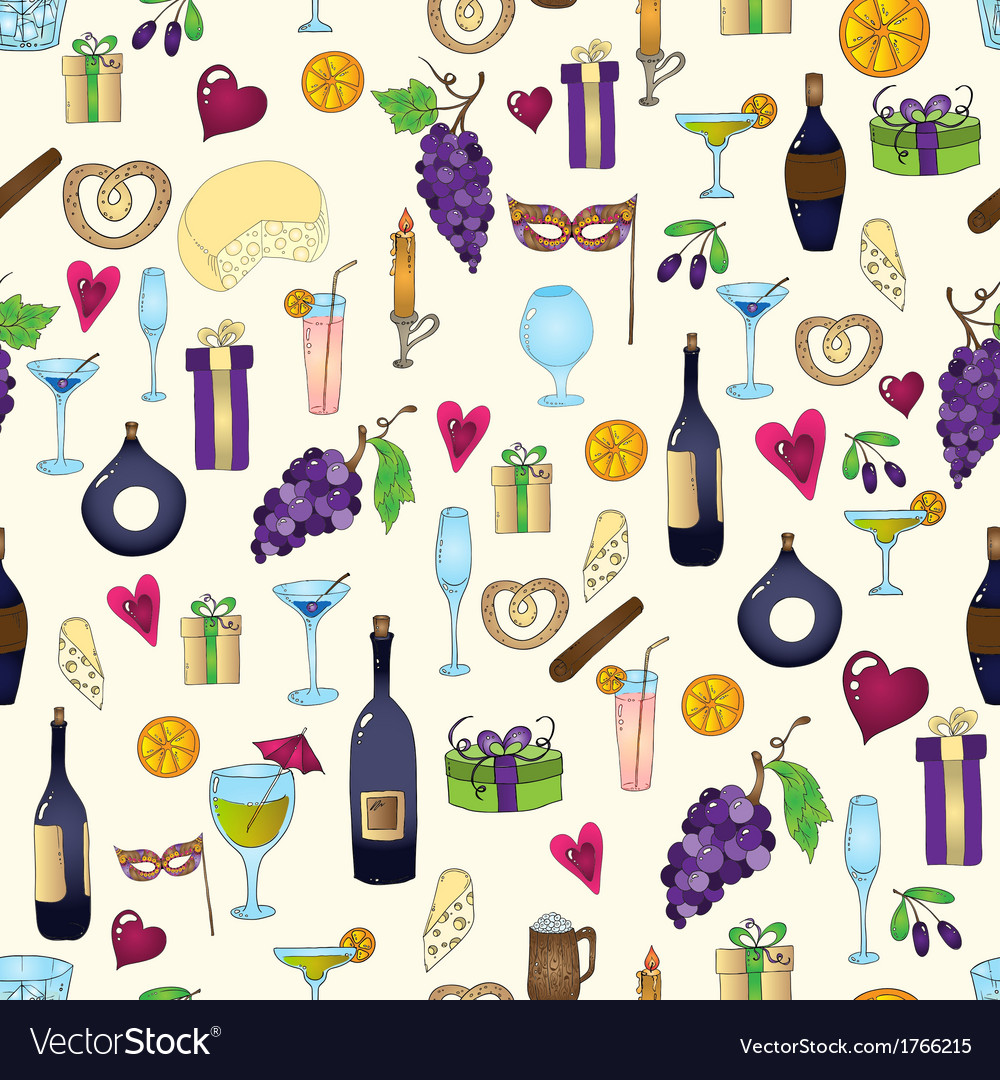Wine and coctail seamless background holiday vector | Price: 1 Credit (USD $1)