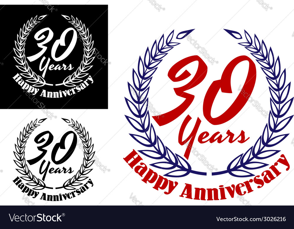 30 years happy anniversary icons vector | Price: 1 Credit (USD $1)
