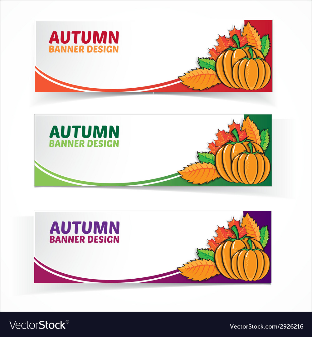 Autumn banner set with pumpkins vector | Price: 1 Credit (USD $1)