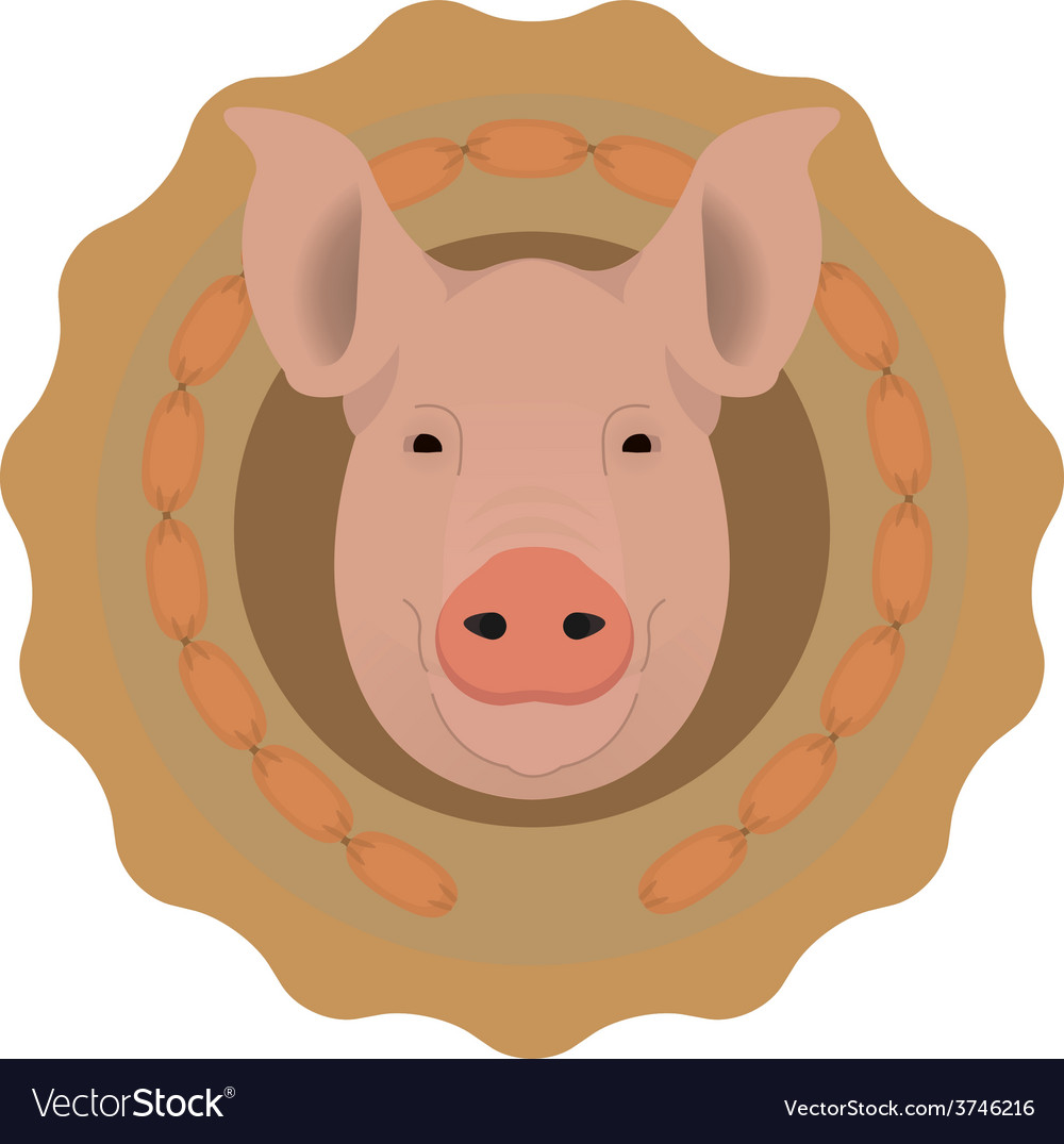 Butchery logo pig head in wieners circle no vector | Price: 1 Credit (USD $1)