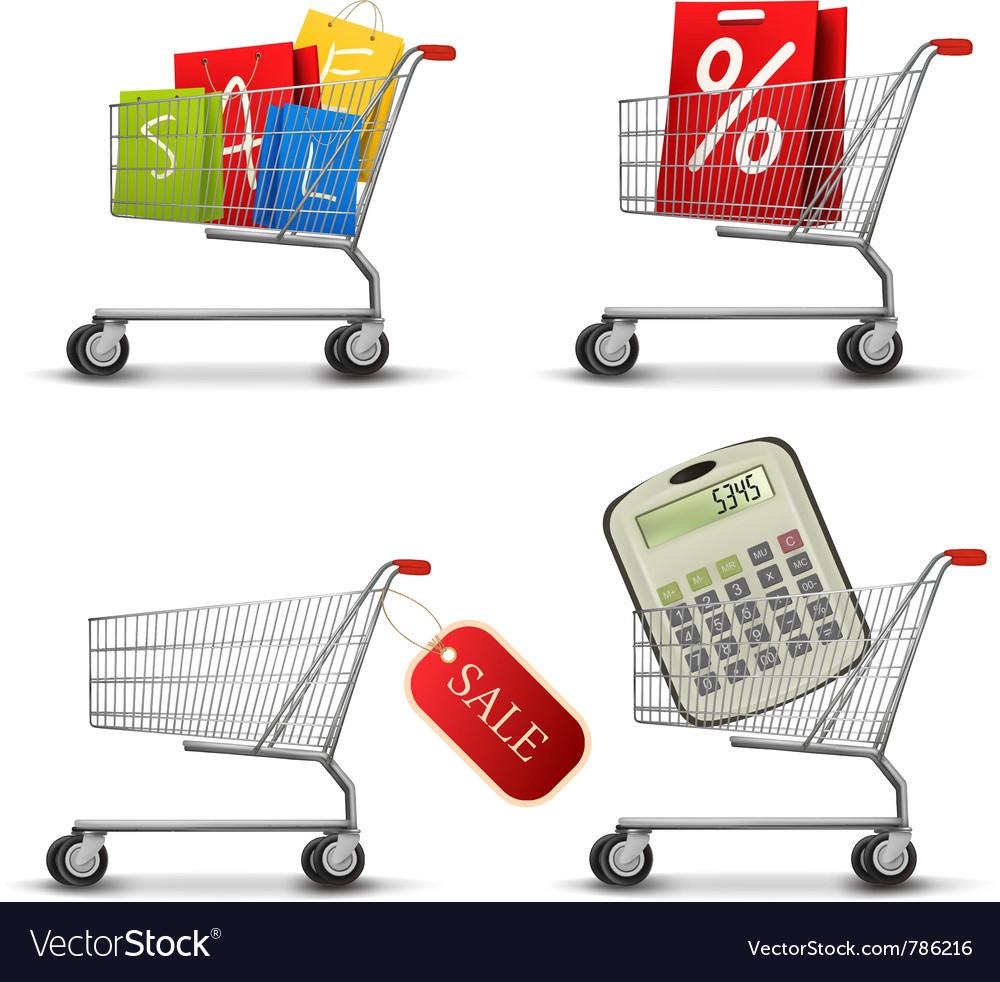 Collection of shopping carts vector | Price: 3 Credit (USD $3)