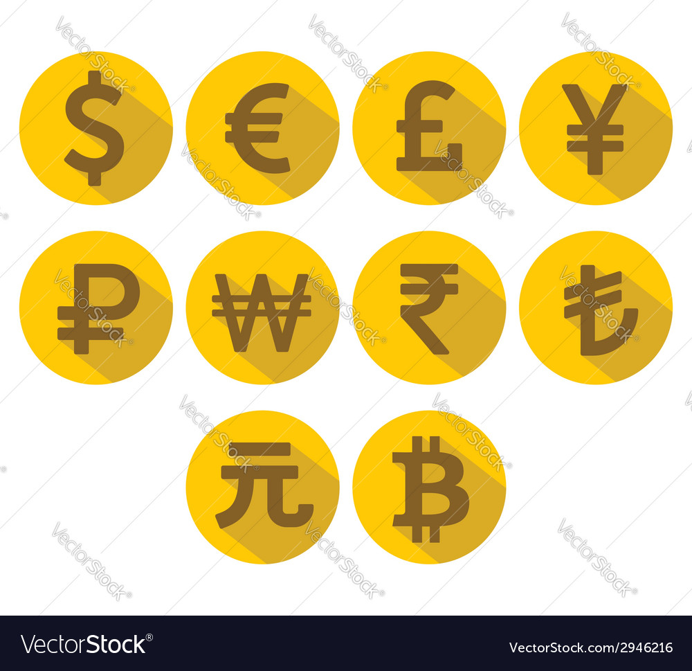 Currency icons set flat design with long shadow vector | Price: 1 Credit (USD $1)