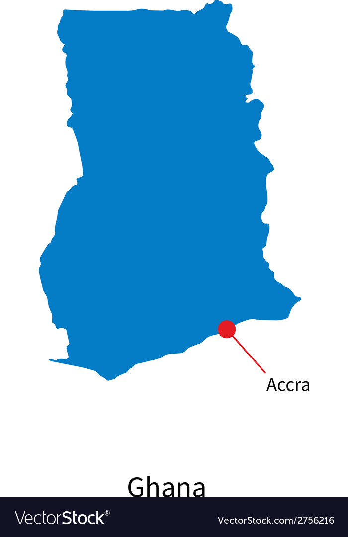 Detailed map of ghana and capital city accra vector   Price: 1 Credit (USD $1)