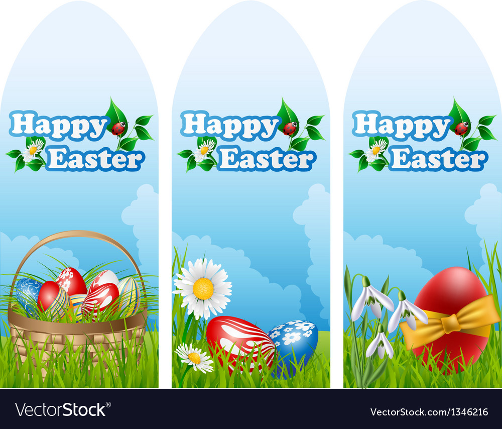 Easter banner set vector | Price: 1 Credit (USD $1)
