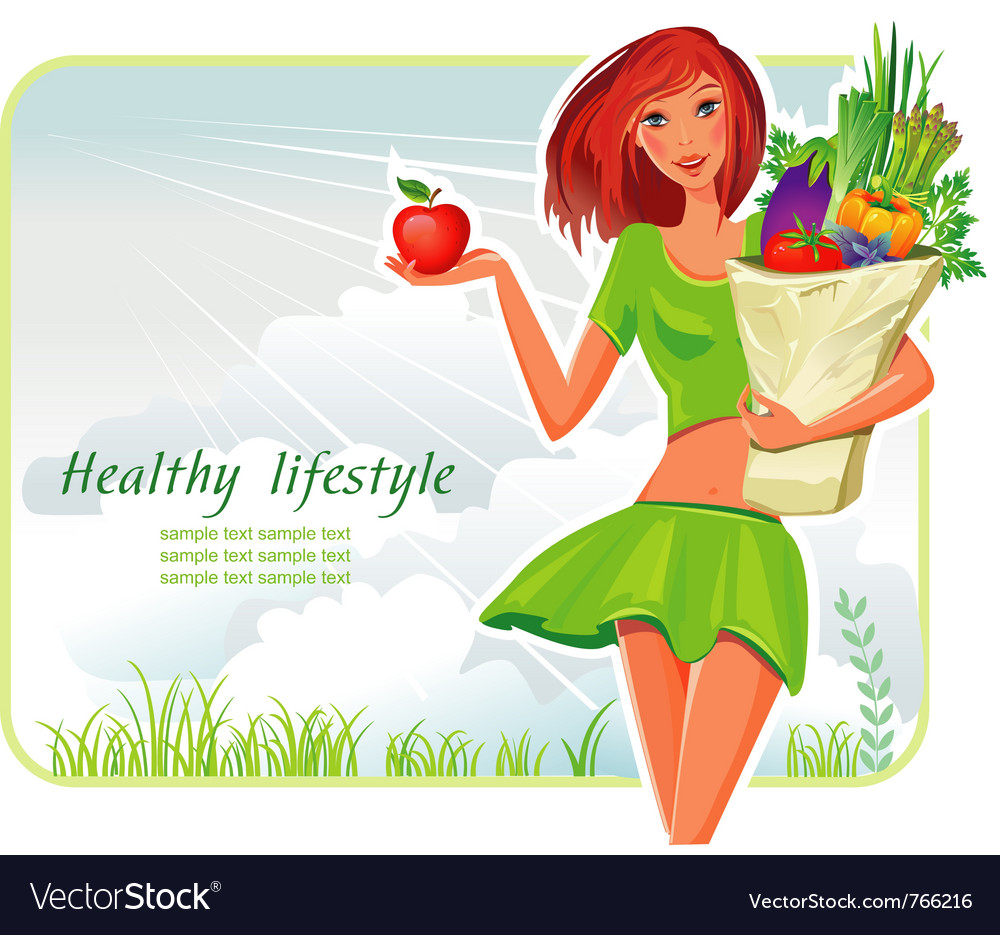 Girl with healthy vegetables vector | Price: 3 Credit (USD $3)