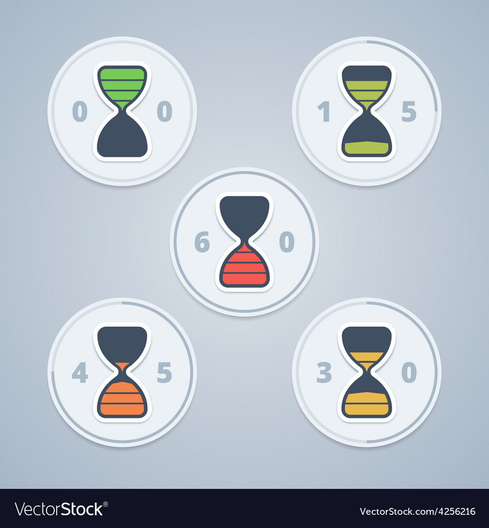 Hourglass timer icons with color gradation and vector | Price: 1 Credit (USD $1)