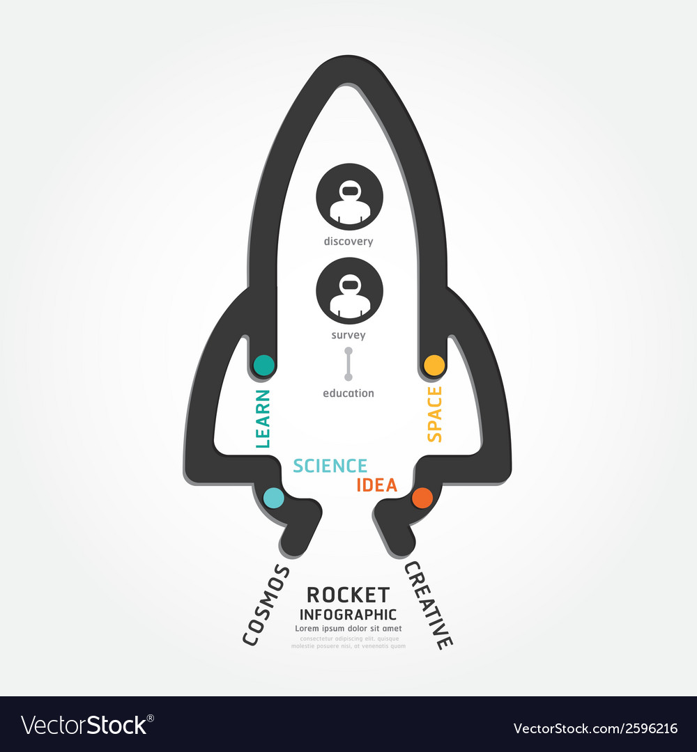 Infographics rocket design diagram line vector | Price: 1 Credit (USD $1)