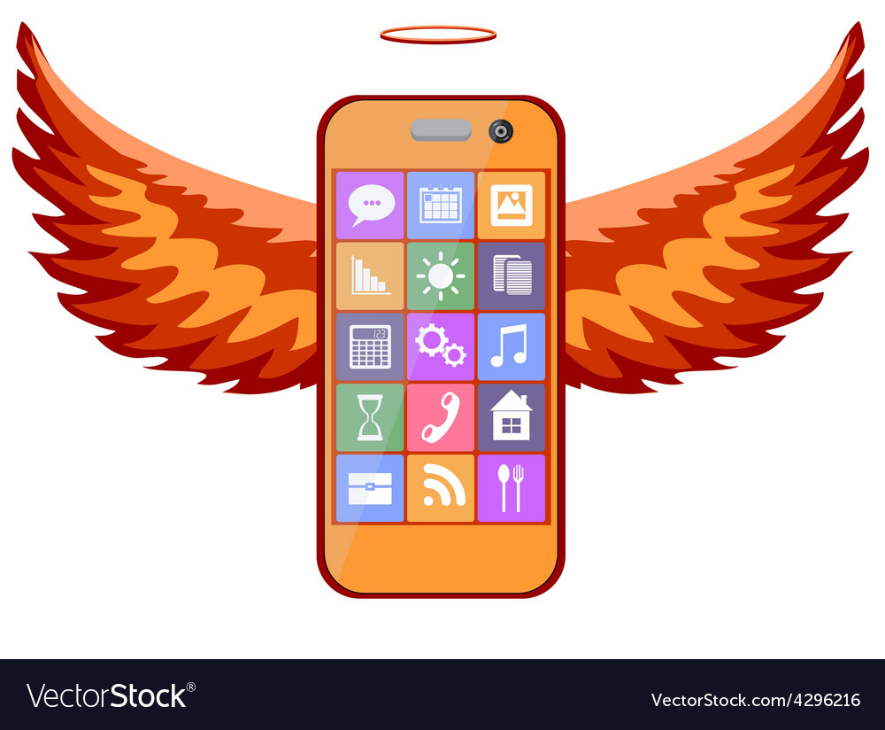 Mobile phone with wings vector | Price: 1 Credit (USD $1)