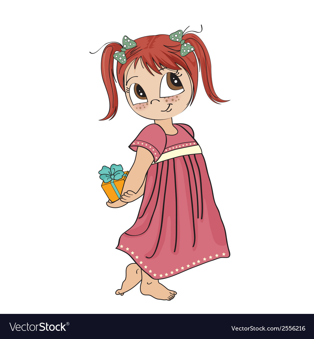 Pretty young girl she hide a gift vector | Price: 1 Credit (USD $1)