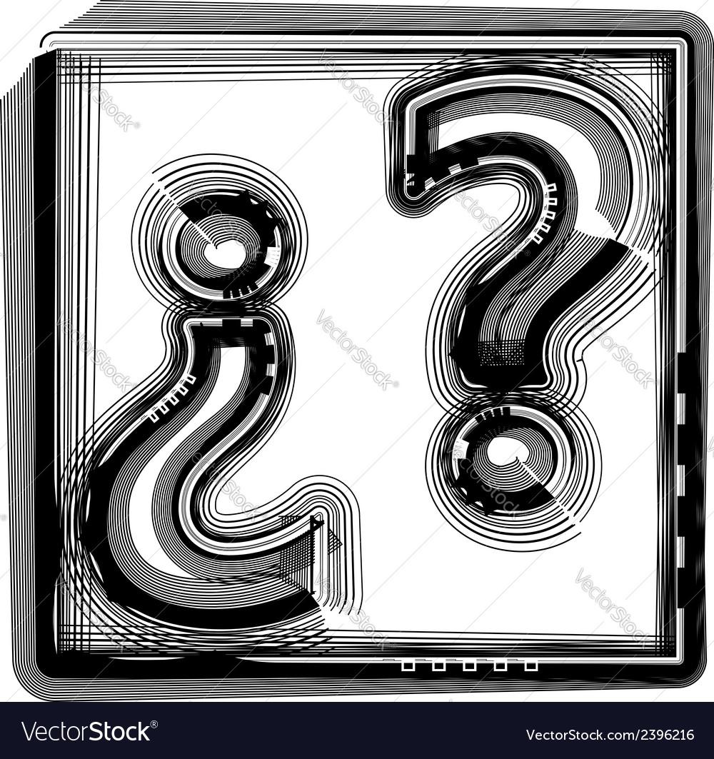 Question mark striped symbol vector | Price: 1 Credit (USD $1)